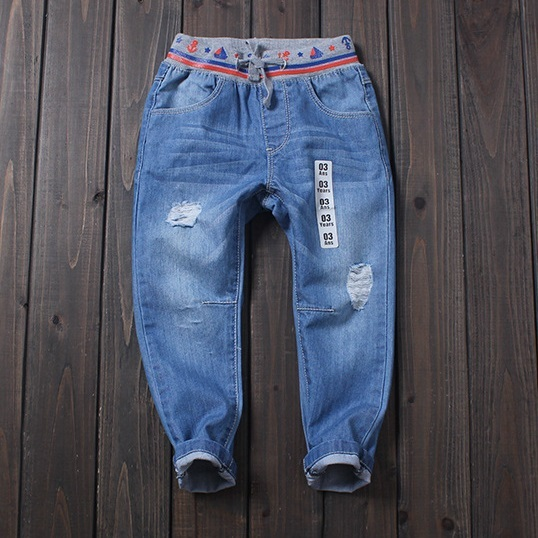 Boy jeans printing elastic waist tie washing hole Distrressed jean for children denim pants kd 7 kd pearl roupas
