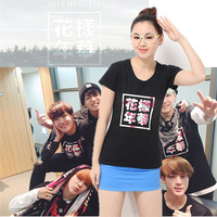 2016 Summer New Boyfriend Style BTS T Shirts Slim T Shirt Women Tops Cherry Blossoms Letters