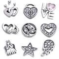 Навсегда Сердце Небесные Любовь Семья Рождество Чудо Petites Fit Pandora Плавающей Медальон Ожерелье Серебро 925 Бижутерия DIY Подарок