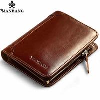 ManBang Hot High Quality Genuine Leather Wallet Men Wallets Fashion Organizer Purse Billfold Zipper Coin Pocket