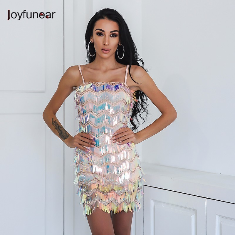Joyfunear More Beautiful Than Picture Women Summer Dress Sexy Strapless Colorful Sequin Club Bodycon Dress Beach Overalls