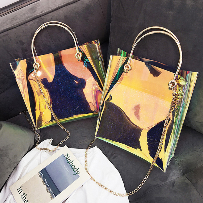 Women Transparent Bag Clear PVC Jelly Small Tote Messenger Bags Female Lady Sac Femme Bandoulier Laser Holographic Shoulder Bags