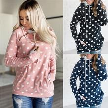 Overcoat Jumper Sweatshirt Women Hoodies 2019 Autumn Winter Printed Kawaii Hooded Hoodie Side Zipper Pullovers Outwear