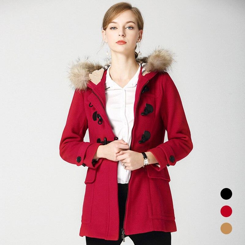 BURDULLY 2020 Новое поступление шерстяное пальто с меховым воротником шерстяная ветровка женское кашемировое красное пальто зимняя куртка женск
