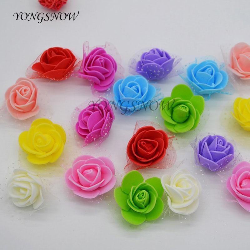 50 шт./лот 3.5 см PE искусственные цветы Малый Пена розы головы Свадебный букет невесты DIY ручной работы венок Свадебные украшения 8z