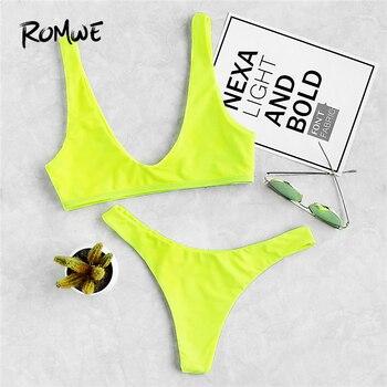Romwe Спортивные Неоновые зеленые с глубоким вырезом бикини с топом с высокой подошвой для женщин бикини наборы простой купальник пляжный сек...