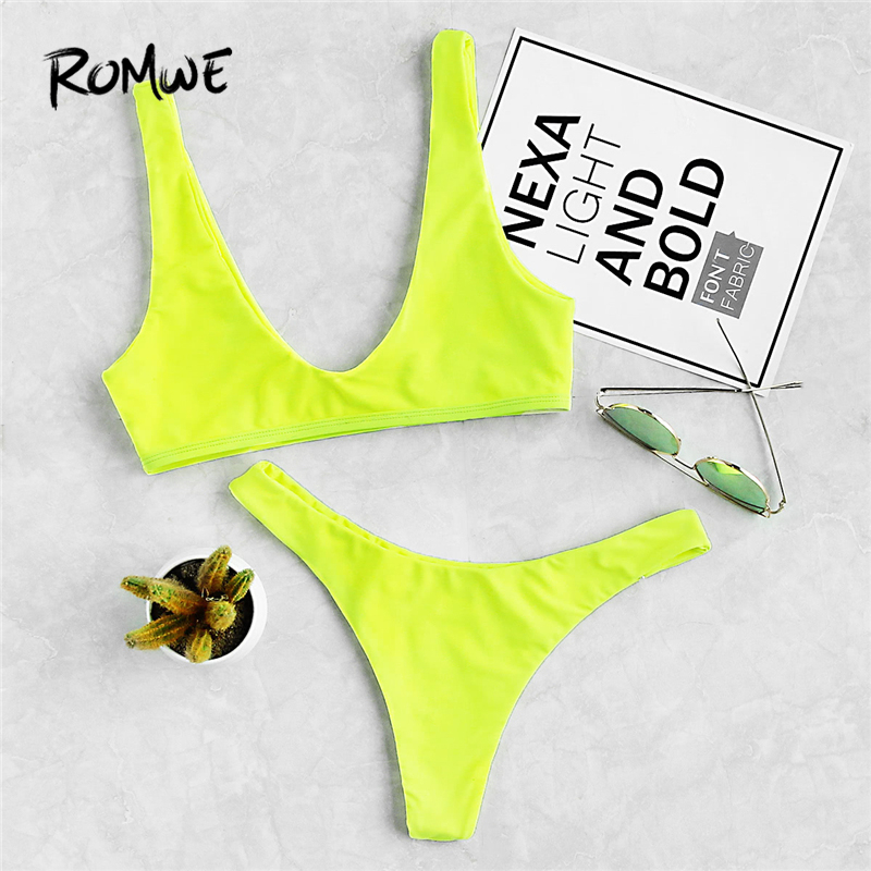 Romwe Sport Neon Plunge Neckline High Leg Bikini Set 2018 New Summer Plain Swimsuit Yellow Beach Hot Sexy Deep V Neck Swimwear green open back deep v neck sleeveless wide leg playsuits