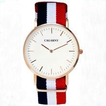 Nouveau mode d'affaires décontractée CAGARNY marque montres pour hommes et femmes avec mince en nylon étanche montre à quartz cadran Horloge Relojes