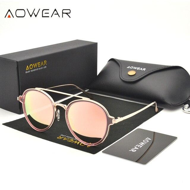 dab21a62 € 20.23 |Aowear moda ronda marca Gafas de sol polarizadas mujeres gafas  retro Rosa espejo Gafas redonda sunglass oculos de sol feminino W1 en Gafas  ...