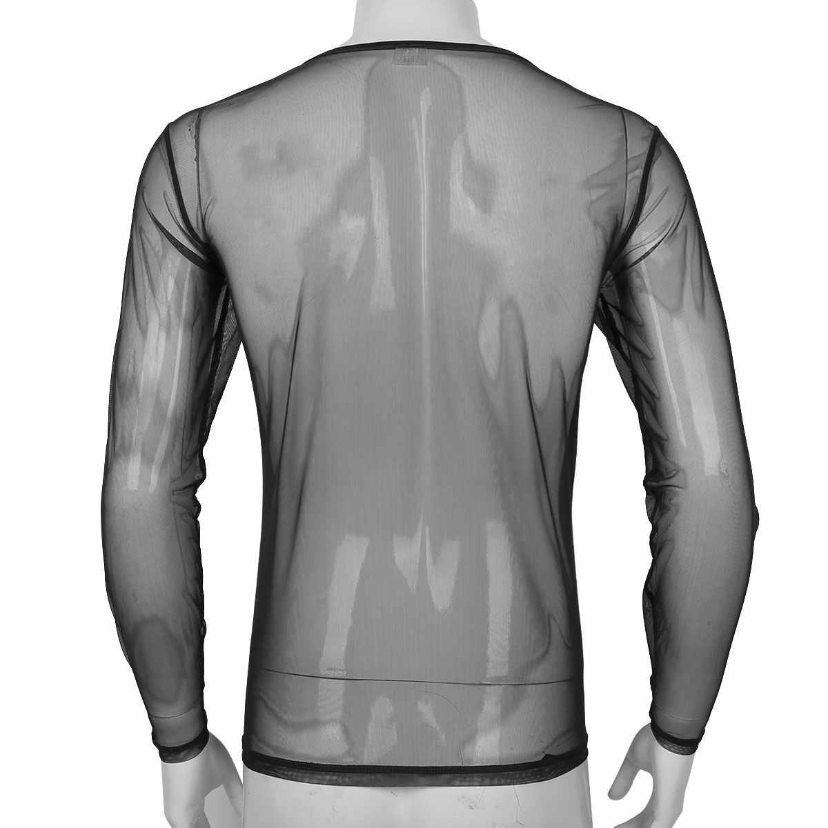 eb047cfc41c6 ... TiaoBug Mens Lace Up Mesh See Through Long Sleeve T-Shirt Men Sexy Club  Wear ...