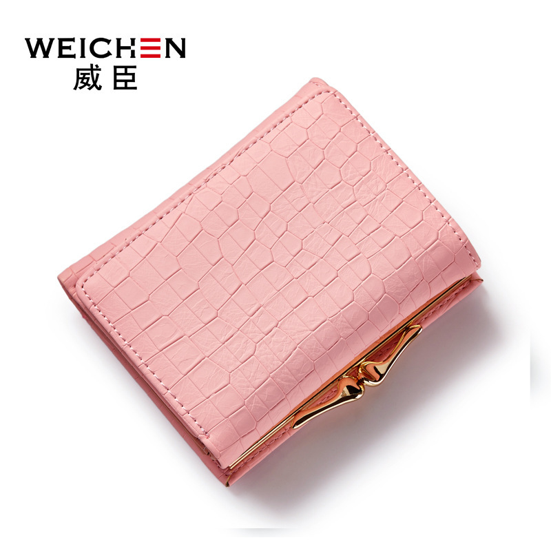 WEICHEN Brand New Crocodile Pattern PU leather short Lady Wallet Fresh Style