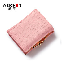 WEICHEN Brand 2017 New Crocodile Pattern PU Leather Short Lady Wallet Fresh Style Girls Notecase Female