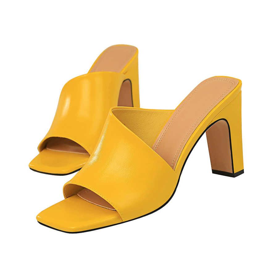 2019 נשים פרדות צהוב שקופיות נקבה עבה בלוק עקבים כסף כפכפים סקסי קיץ 8.5 cm גבוהה עקבים יוקרה פיפ הבוהן שחור נעליים