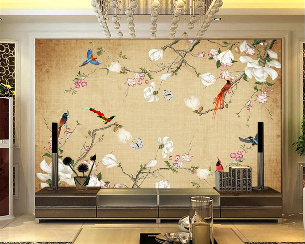 beibehang Custom 3d Wallpaper Mural Fashion Flower Bird 3D Living Room Bedroom TV Background Wall Photo Wallpaper for walls 3 d