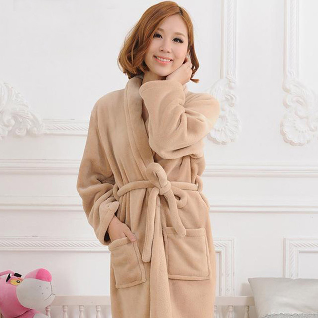 Women Winter Bathrobes Long Sleeve Flannel Robe Female Sleepwear Lounges Homewear Pyjamas 6 Colors Warm Nice Quality