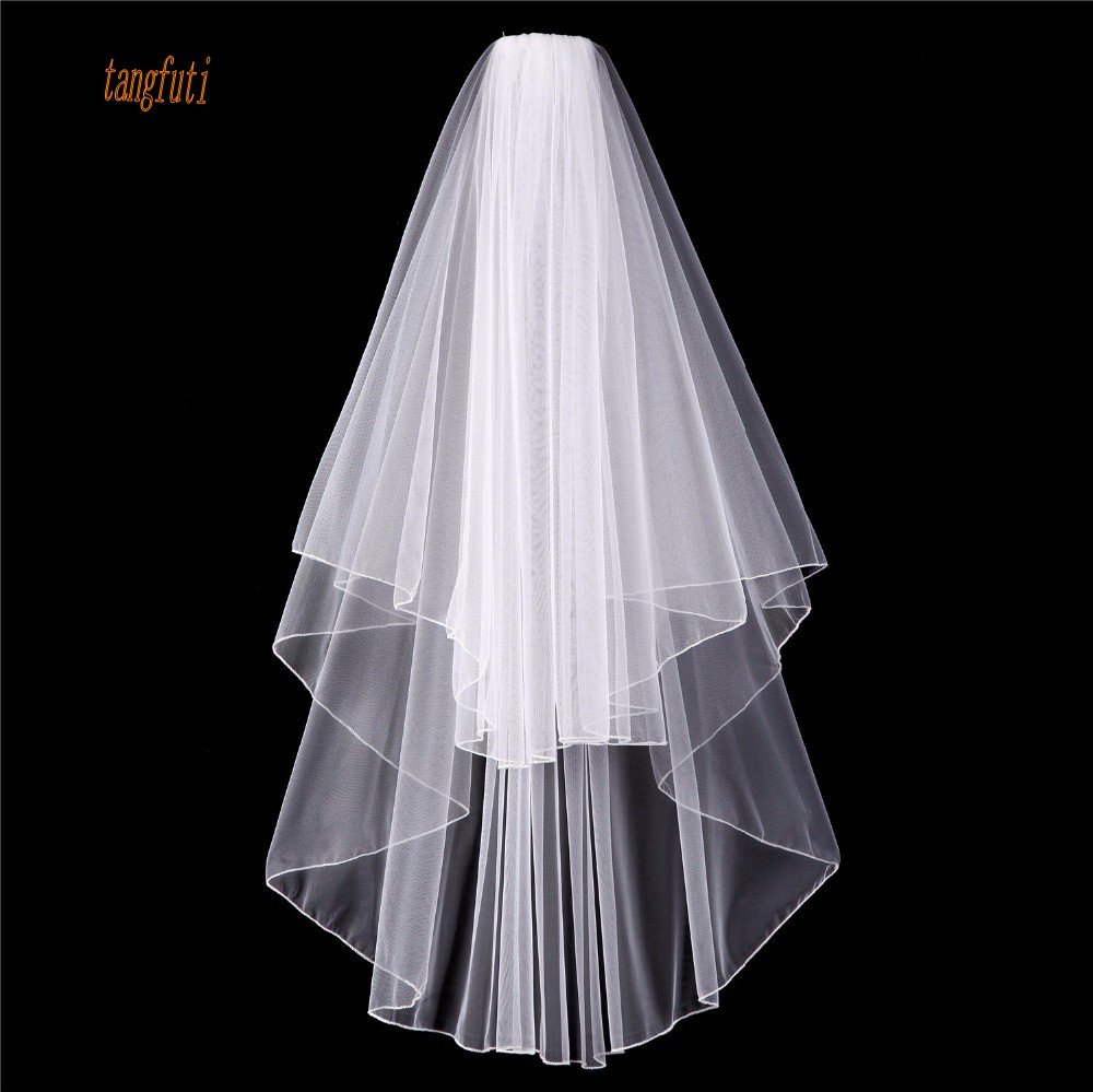 White Ivory Bridal Veils Two Layers Tulle Wedding Veils Pencil Edge With Comb Cheap Wedding Accessories Short Bridal Veil 2018