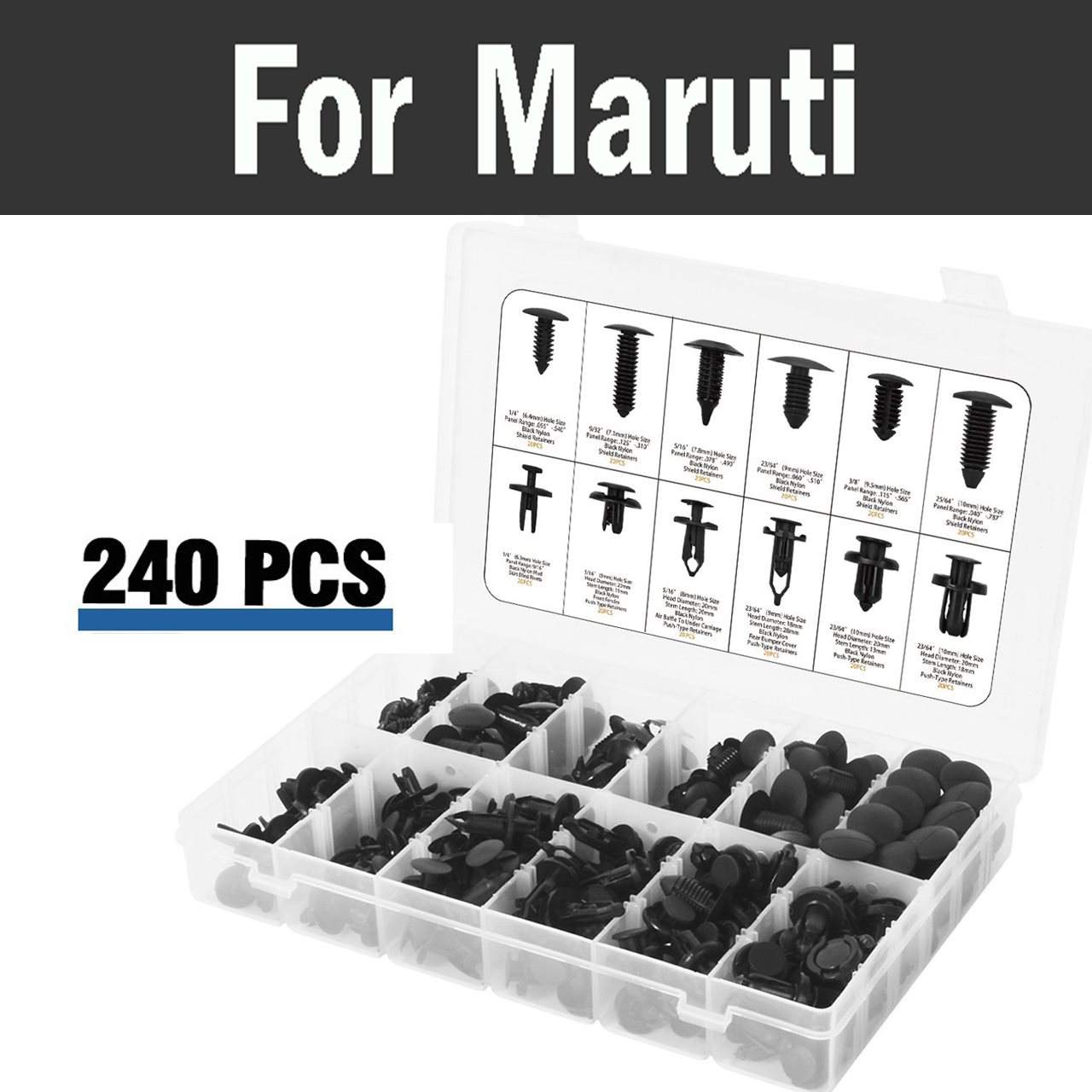 240pcs Car Styling Plastic Push Pin Rivet Fasteners Trim Moulding Clip Screwdriver For Maruti 800 Alto Baleno Esteem Gypsy Zen