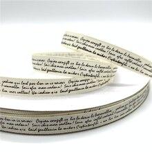 5 ярдов/партия 10 мм полиэстер лента ручной работы дизайн печатный текст ленты для свадьбы Рождество украшения DIY швейная ткань