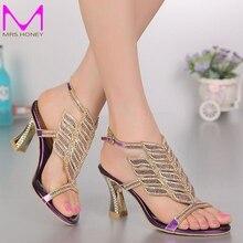 Purple Rhinestone High-heeled Sandals Women Diamond Shoes Female Open Toe Summer Shoes Bridal Wedding Party Sandals Plus Size