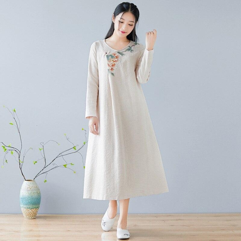 Nouvelle robe d'automne col rond robe peinte à la main Style chinois rétro lâche robe à manches longues Boho Vestidos femme