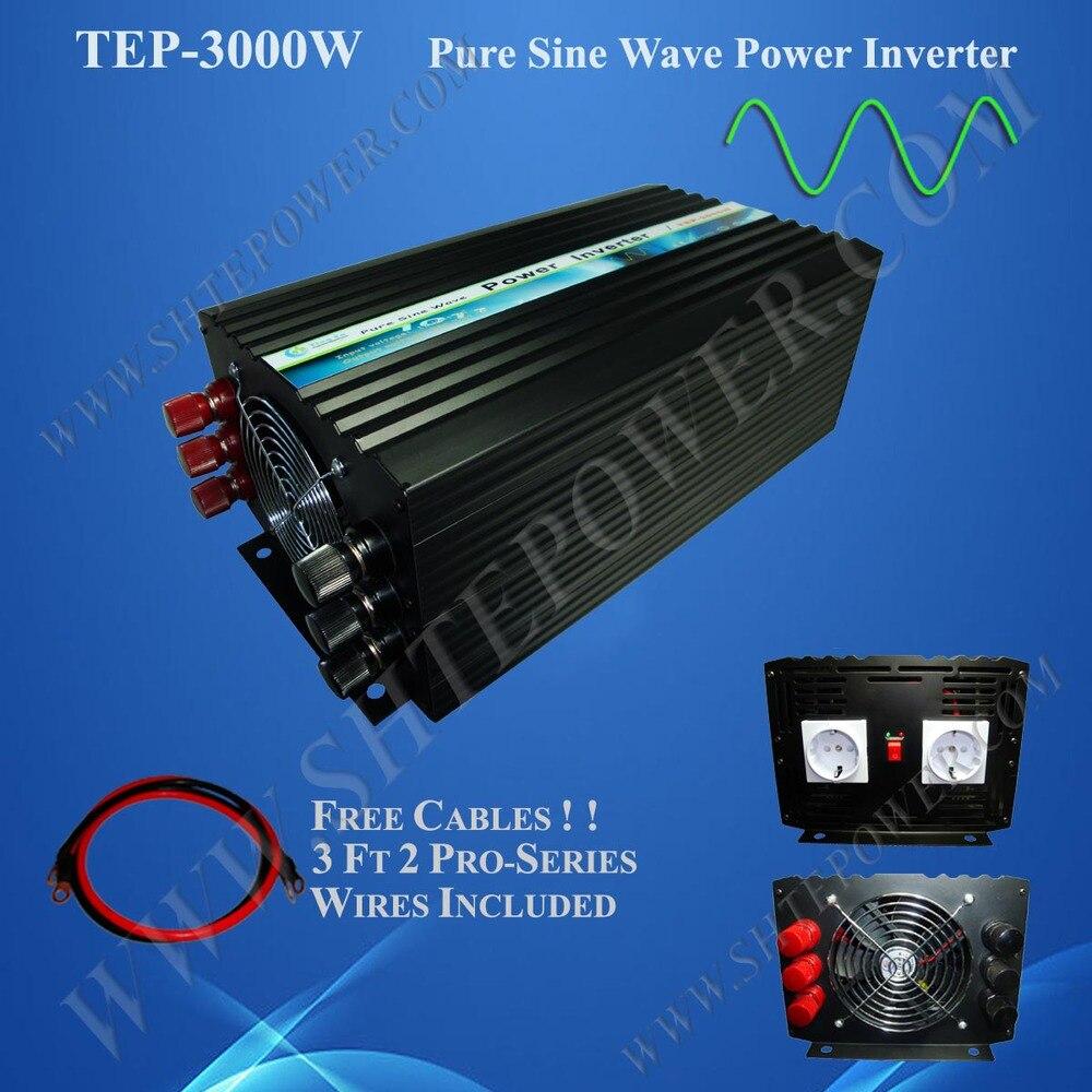 Inversor Solar de 3000 w, inversor de onda sinusoidal pura, inversor de energía solar de 12 v a 220 v CC 3kw