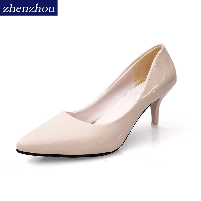 Free shipping Shoes Woman 2017 autumn fashion new style pointed toe High heel shoes Fine with high shoes shallow single shoes [328] women autumn fashion shoes pu skin shallow low heeled shoes with high heel pointed shoes for ol lss 888