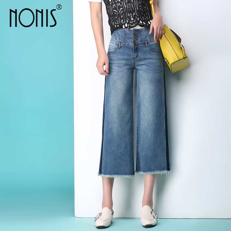 Nonis 2017 new women jeans wide leg Straight trousers strech calf-length pantalon jeans sexy pour femme loose pant charter club new navy kate straight leg jeans msrp $39 99