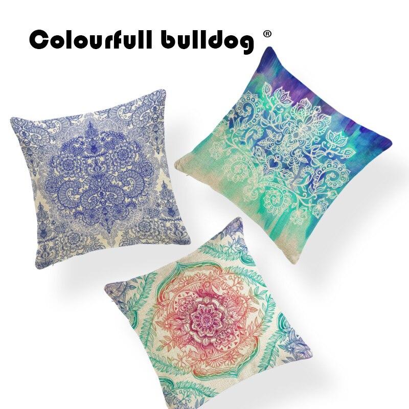 Geometry Watercolor Cushion Plant Pillow Cushion Lotus Chair Decor Home Diamond Purple Throw Pillow Case Patchwork 45X45Cm Linen