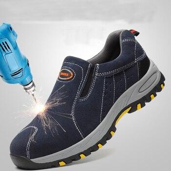 Punta de acero de seguridad zapatos de trabajo zapatos de los hombres 2018 de moda de verano transpirables Slip en Casual botas hombre seguro laboral punción prueba zapato