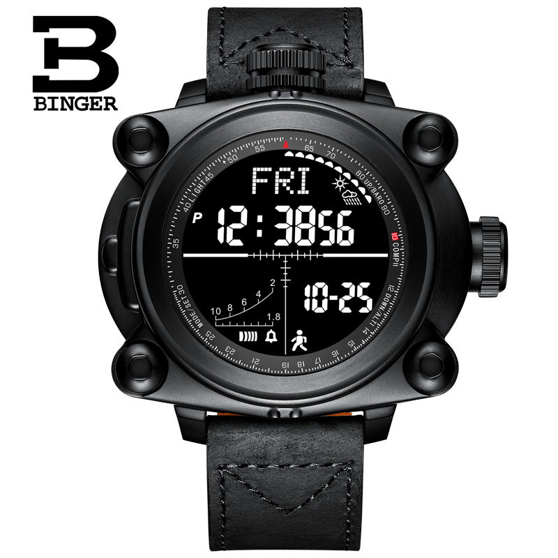 Smart Men Watches Outdoor sport Digital wristwatches step counting function/altitude/pressure/weather/compass/temperature BINGER - 2