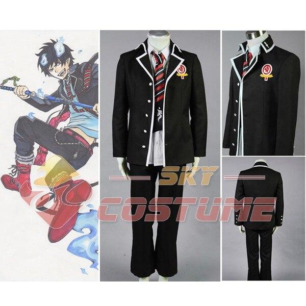 Anime Ao no Blue Exorcist Rin Okumura Cosplay Men Black Coat Jacket Suit Cosplay Costume