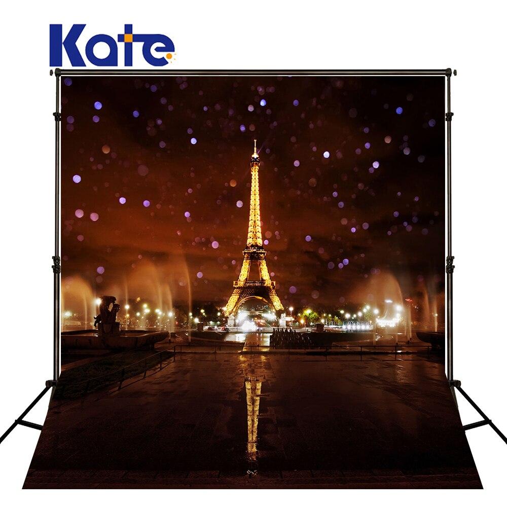 5X7FT Kate 다크 브라운 에펠 탑 사진 백 드롭 야간 도시 배경 어린이를위한 아름다운 풍경 배경