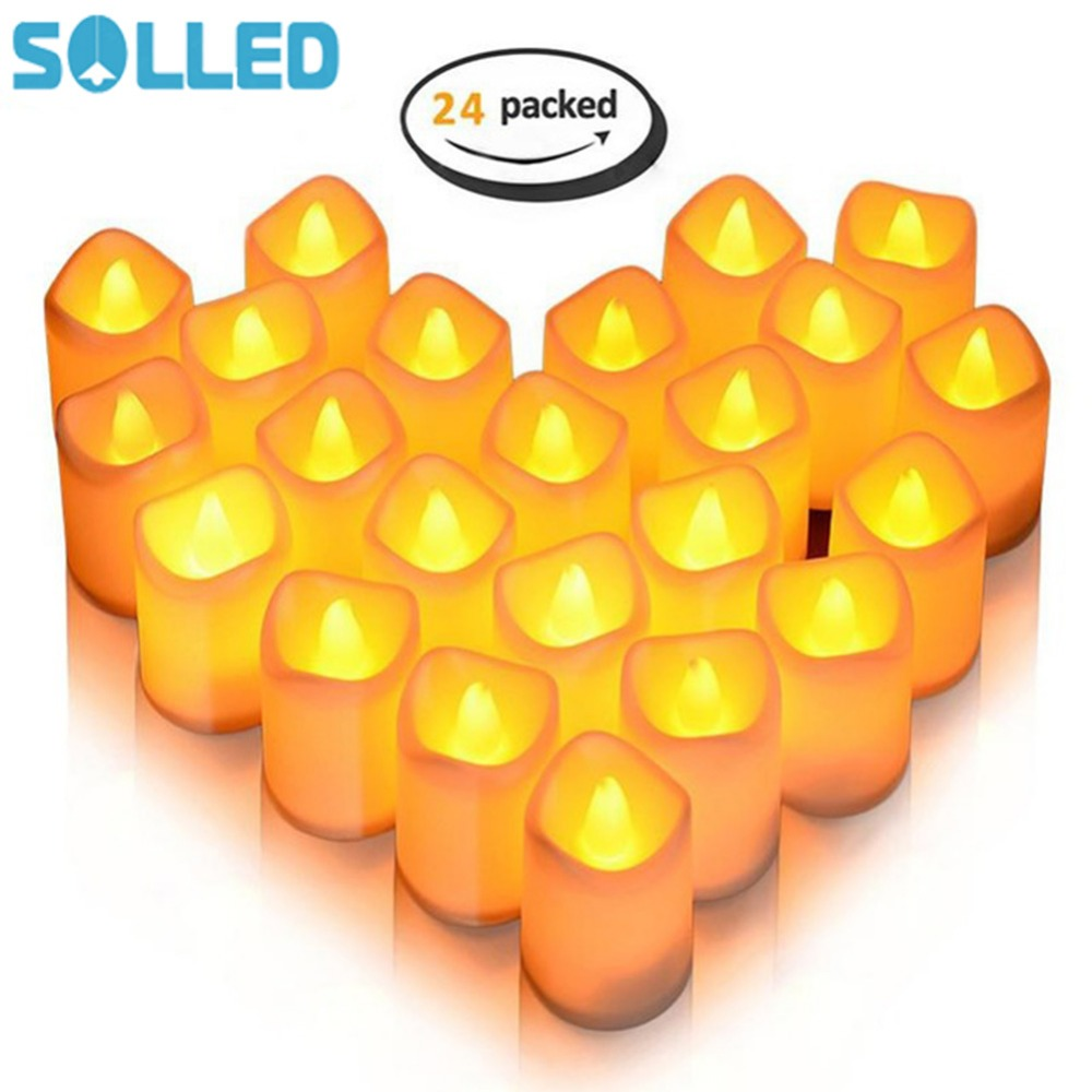 SOLLED 24 Packed Candle Lights Warm White Flameless LED Tea Lights Button Cell Powered C ...