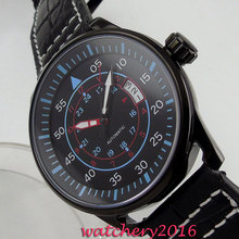 43mm Planca black dial PVD case date adjust blue markers Automatic movement Men's Watch