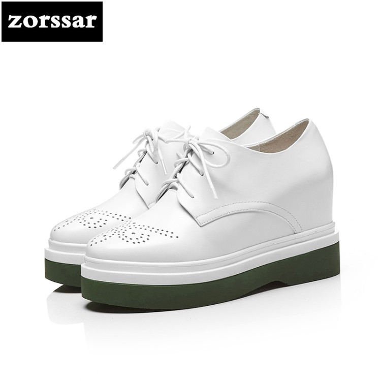 {Zorssar} 2018 Spring New Fashion casual Lace-up womens shoes pumps height increasing platform Wedges shoes women High heels hee grand fashion height increasing women shoes zip white black women casual pumps wedges shoes drop shipping xwc471