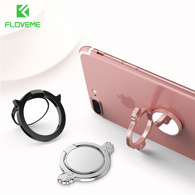 FLOVEME Finger Ring Holder  For iPhone XS MAX XR With Mirror Phone RingPhone Magnetic Metal Plate Accessories