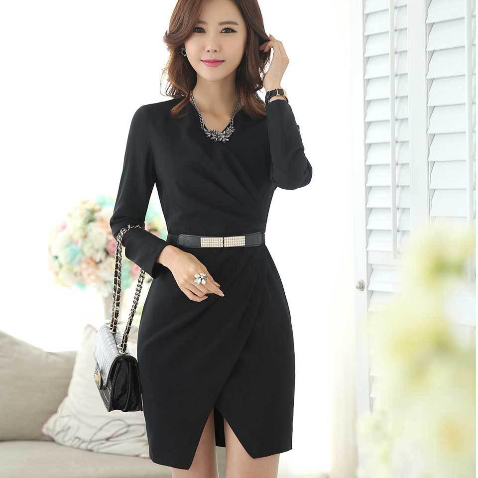 Korean Style Women Desigual Office Dress 2015 Spring Autumn Full Elegant Sashes Business Uniform