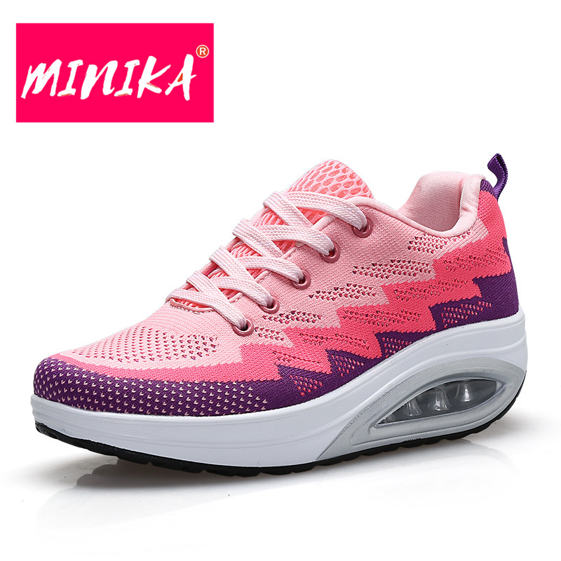 MINIKA Fashion Design Women Casual Shoes Breathable Lace-Up Women Flat Shoes Rubber Outsole Women Mesh Shoes Large Size 35-42 minika breathable mesh lace shoes women thick bottom shallow mouth women casual shoes slip on flat shoes women high quality