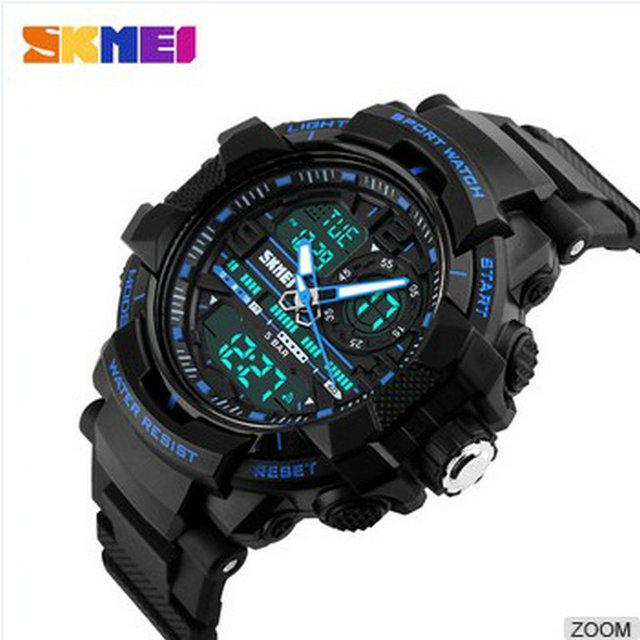 Skmei relógio digital de alta qualidade relógio de hora dual analógico sports relógio de pulso dos homens azul