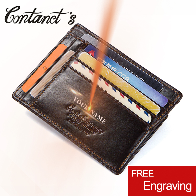 Contact's 2018 Men Credit Card Holder Wallet Genuine Leather Vintage Card Case Zipper Coin Purse Men's ID Card Wallets Rfid Slim new design 100% leather genuine male wallets slim short men wallet with zipper coin purse pocket soft leather card holder wallet