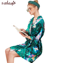 Fdfklak nuevo peignoir mujer vintage estampado trajes de dama de honor mujeres seda satén ropa de dormir corto mini traje de baño de verano