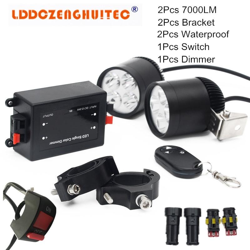 LDDCZENGHUITEC Universal Motorcycle Headlight Fog Lights U3 LED Strobe Beam driving Motorbike Spot Head Lamps+Wiring Harness