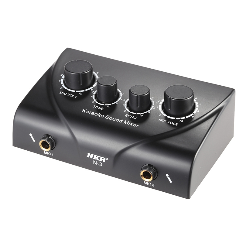 ABGN Hot-Portable Dual Mic Inputs Audio Sound Mixer For Amplifier & Microphone Karaoke Ok Mixer Black Eu Plug