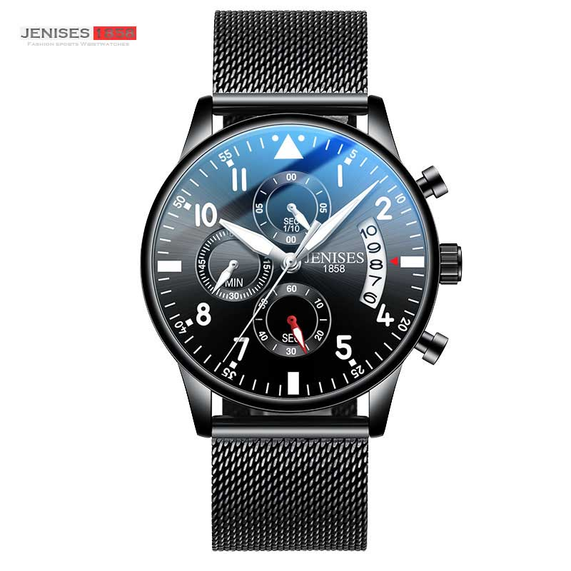 JENISES Chronograph Auto Date Men Sports Watches Top Brand Fashion Military Quartz Wrist Leather Strap Watches Relogio Masculino
