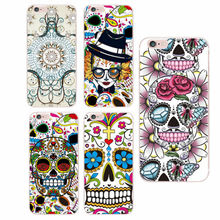 Floral Sugar Skull Soft Phone Case Cover Conque Fundas For iphone 6 6S 6plus 7 7Plus 5 5S SE 5C 4 4S SAMSUNG