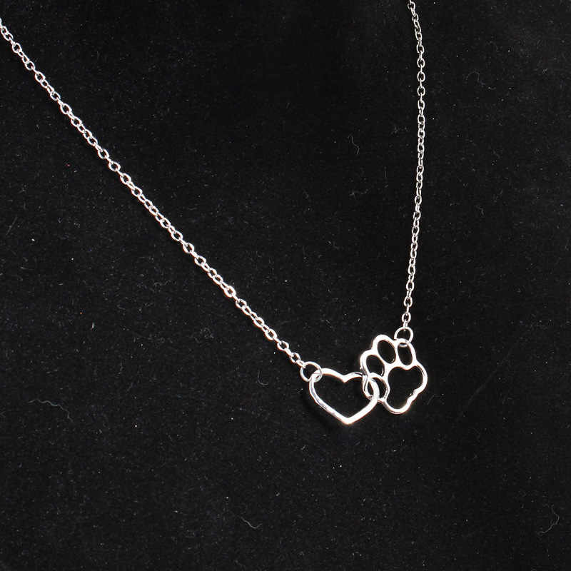 Hollow Pet Paw Footprint Necklaces Cute Animal Dog Cat Love Heart Pendant Necklace For Women  Jewelry Necklace drop shipping