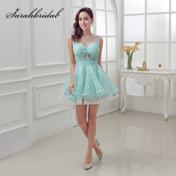 New Arrival Short Mint Homecoming Dresses with Lace Beading Appliques Illusion Sleeveless Graduation Party Cocktail Gowns OL313 фото