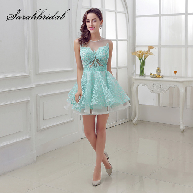 New Arrival Short Mint Homecoming Dresses with Lace Beading Appliques Illusion Sleeveless Graduation Party Cocktail Gowns OL313