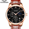 2016 Top Brand GUANQIN Watches Men New Fashion Quartz Watches Male Waterproof Leather Strap Wrist Watch Reloj Hombre