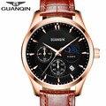 2016 top brand guanqin relojes de los hombres nueva moda relojes de cuarzo masculino impermeable correa de cuero reloj de pulsera reloj hombre